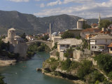 The New Old Bridge Over the Fast Flowing River Neretva, Mostar, Bosnia, Bosnia-Herzegovina, Europe Photographic Print by Graham Lawrence