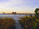 Naples, Florida, USA. Sunset at the Beach and Pier Photographic Print by Fraser Hall