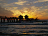 Sunset at Naples Pier, Naples, Florida, USA Photographic Print by Fraser Hall