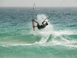 Kite Surfing at Santa Maria on the Island of Sal (Salt), Cape Verde Islands, Atlantic Ocean, Africa Photographic Print by Robert Harding