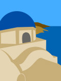 Illustration of a Blue Domed Church, Firostephani, Santorini, Cyclades Islands, Greece Photographic Print by Michael Kelly