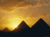 Sunset, the Pyramids, Giza, Unesco World Heritage Site, Cairo, Egypt, North Africa, Africa Photographic Print by John Ross