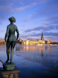 Statue and City Skyline, Stockholm, Sweden, Scandinavia, Europe Photographic Print by Sylvain Grandadam