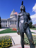 Statue of Native American in Front of State Capitol, Salt Lake City, Utah, USA Photographic Print by Sylvain Grandadam