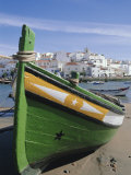Fishing Boat and Village Near Portimac, Ferragudo, Algarve, Portugal, Europe Photographic Print by Tom Teegan