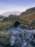 Ashness Bridge and Frozen Beck, Lake District National Park, Cumbria, England, UK, Europe Photographic Print by Neale Clarke