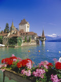 Lake Thun (Thunersee) and Oberhofen Castle, Bernese Oberland, Switzerland, Europe Photographic Print by Simon Harris