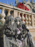 People Wearing Masked Carnival Costumes, Venice Carnival, Venice, Veneto, Italy Photographic Print by Bruno Morandi