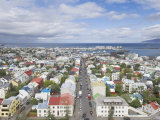 City Centre and Faxafloi Bay from Hallgrimskirkja, Reykjavik, Iceland, Polar Regions Photographic Print by Neale Clarke