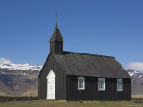 Black Timber Church at Budir, Snaefellsnes Peninsula, North West Area, Iceland, Polar Regions Photographic Print by Neale Clarke