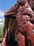 Maori Carving, Whare Runanga, Waitangi, North Island, New Zealand, Pacific Photographic Print by Neale Clarke