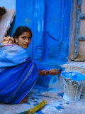 Woman Painting Her House, Jodhpur, Rajasthan, India Photographic Print by Bruno Morandi