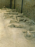 Casts of People Buried in the Destruction, Pompeii, Campania, Italy Photographic Print by Bruno Morandi