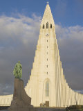 Statue of Leifur Eiriksson (Liefer Eriksson) and Hallgrimskirkja, Reykjavik, Iceland, Polar Regions Photographic Print by Neale Clarke
