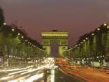 Avenue Des Champs Elysees and the Arc De Triomphe at Night, Paris, France, Europe Photographic Print by Neale Clarke
