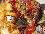 People Wearing Masked Carnival Costumes, Venice Carnival, Venice, Veneto, Italy Photographic Print by Bruno Morandi