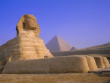 The Sphinx and Pyramid of Cheops at Sunrise, Giza, Cairo, Egypt Photographic Print by Sylvain Grandadam