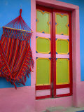 Close-up of Doorway and Hammock, Raquira, Boyaca Region, Columbia, South America Photographic Print by D Mace