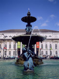 Fountain and National Theatre D. Maria II, Place Rossio (Rossio Square), Lisbon, Portugal, Europe Photographic Print by Sylvain Grandadam
