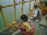 Akash Deep Puja, Sky Lantern Festival on the Ganges (Ganga) River Bank, India Photographic Print by John Henry Claude Wilson
