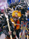 Portrait of a Boy in Costume and Facial Paint, Mardi Gras, Dinagyang, Island of Panay, Philippines Photographie par Alain Evrard