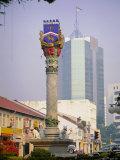 City Crest with Cat Statues at Base,, Kuching, Island of Borneo, Malaysia Photographic Print by Richard Ashworth
