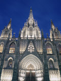 Exterior of the Christian Cathedral Facade in the Evening, Barcelona, Spain Photographic Print by Peter Higgins