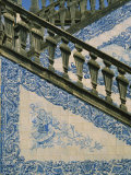 Detail of External Staircase Decorated with Azulejos (Tiles), Algarve, Portugal Photographic Print by Nedra Westwater