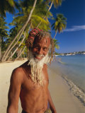 Portrait of a Rasta Man at Pigeon Point, Tobago, Trinidad and Tobago, West Indies, Caribbean Photographie par Gavin Hellier