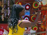 Rasta (Rastafarian) Hats on Display, Tobago, Trinidad and Tobago, West Indies, Caribbean Photographic Print by Gavin Hellier