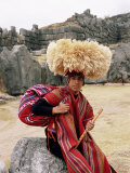 Portrait of a Young Peruvian Man in Traditional Dress, Cuzco, Peru Photographic Print by Gavin Hellier