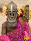 Portrait of Masked Ceremonial Dogon Dancers Near Sangha, Mali, West Africa Photographic Print by Gavin Hellier