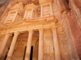 Facade of the Treasury (El Kazneh), Nabatean Archaeological Site, Petra, Jordan, Middle East Photographic Print by Upperhall Ltd