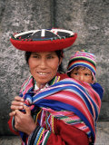 Portrait of a Local Woman in Traditional Dress, Carrying Her Baby on Her Back, Near Cuzco, Peru Photographic Print by Gavin Hellier