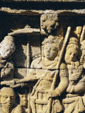 Relief Carving on Frieze on Outside Wall of the Buddhist Temple, Borobodur, Java, Indonesia Photographic Print by Robert Harding