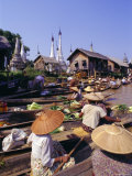 Women in Boats Selling Vegetables, Floating Market on the Lake, Inle Lake, Shan State, Myanmar Photographic Print by Alison Wright