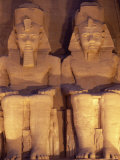 Floodlit Colossi of Ramses II, Seated Statues on Facade of Temple, Abu Simbel, Egypt, North Africa Photographic Print by Upperhall Ltd