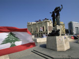 Lebanese Flag and the Martyrs Statue in the Bcd, Lebanon, Middle East Photographic Print by Gavin Hellier