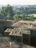Sunken, Rock-Hewn Christian Church, in Rural Landscape, Unesco World Heritage Site, Ethiopia Photographic Print by Upperhall Ltd