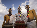 Portrait of Three Karo Tribesmen with Faces and Bodies Painted with Chalk, Ethiopia Photographic Print by Gavin Hellier