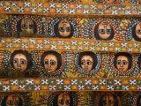 Painting of the Winged Heads of 80 Ethiopian Cherubs, Debre Berhan Selassie Church, Ethiopia Fotografisk tryk af Gavin Hellier