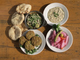 Plates of Traditional Food, Falafel, Babaghanoush and Shawarma, Egypt, North Africa Photographic Print by Upperhall Ltd