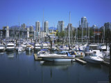 Boats Moored in False Creek by Granville Island with Downtown Vancouver Beyond, Canada Photographic Print by Pearl Bucknell