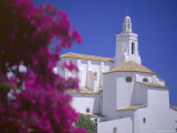 Bourgainvillea Flowers and White Christian Church, Cadaques, Costa Brava, Catalonia, Spain Photographic Print by Ruth Tomlinson