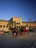 Horse Drawn Carriage at Sunset, Palacio Espanol, Plaza Del Espana, Andalusia (Andalucia), Spain Photographic Print by Ruth Tomlinson