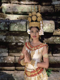 Portrait of a Traditional Cambodian Apsara Dancer, Cambodia Photographic Print by Gavin Hellier
