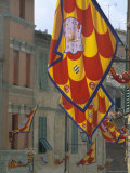 Flags and Lamps of the Chiocciola Contrada in the Via San Marco During the Palio, Siena, Italy Photographic Print by Ruth Tomlinson