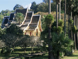 Wat Mai Suwannaphumaham and Trees, Luang Prabang, Unesco World Heritage Site, Laos, Indochina Photographic Print by Upperhall Ltd
