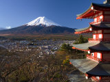 Mount Fuji Capped in Snow and the Upper Levels of a Temple, Central Honshu, Japan Photographic Print by Gavin Hellier