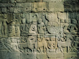 Stone Bas-Reliefs Depicting Scenes of Rural Life and Historical Events, Siem Reap, Cambodia Photographic Print by Gavin Hellier